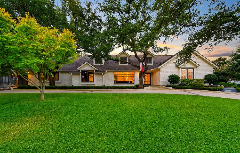 Window Replacement Fort Worth with Traditional Exterior Also Flat Grass Landscaping Trees Walk Way