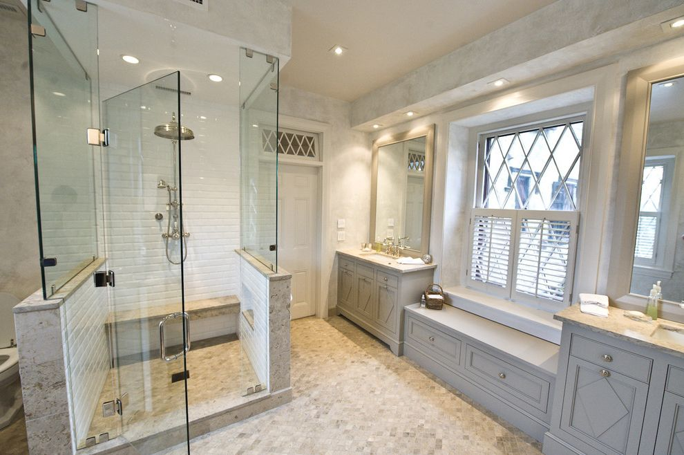 Window Tinting Lancaster Pa   Traditional Bathroom  and Bench Seat Built in Custom Woodwork Glass Shower Enclosure Gray Marble Mirrors Rain Shower Recessed Lights Shower Bench Subway Tile Tile Floor Transom Window