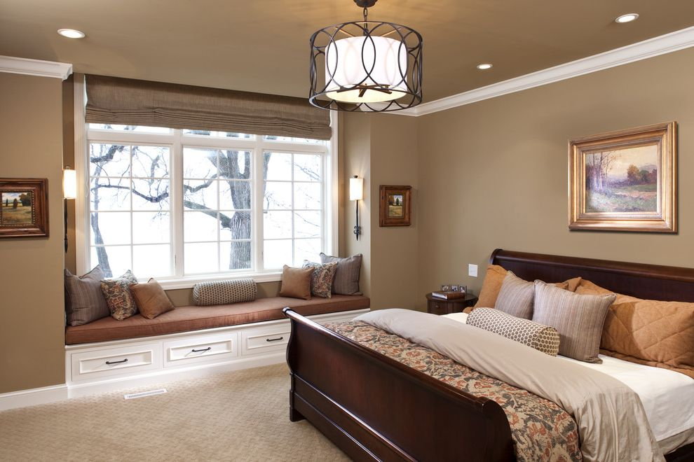 Window Tinting Lancaster Pa   Traditional Bedroom Also Artwork Beige Bench Seat Built in Bench Carpeting Chandelier Dark Stained Wood Pillows Pleated Roman Shade Seat Cushion Sleigh Bed White Trim