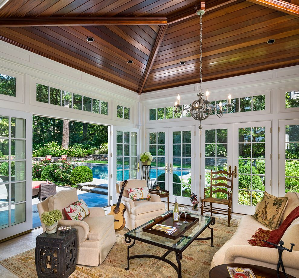 Window Tinting Lancaster Pa with Traditional Sunroom Also Beige Oriental Carpet French Doors Garden Stool Glass Doors Metal and Glass Coffee Table Metal Chandelier Patio Pool Sunroom Transom Windows White Couch White Sofa Wood Ceiling