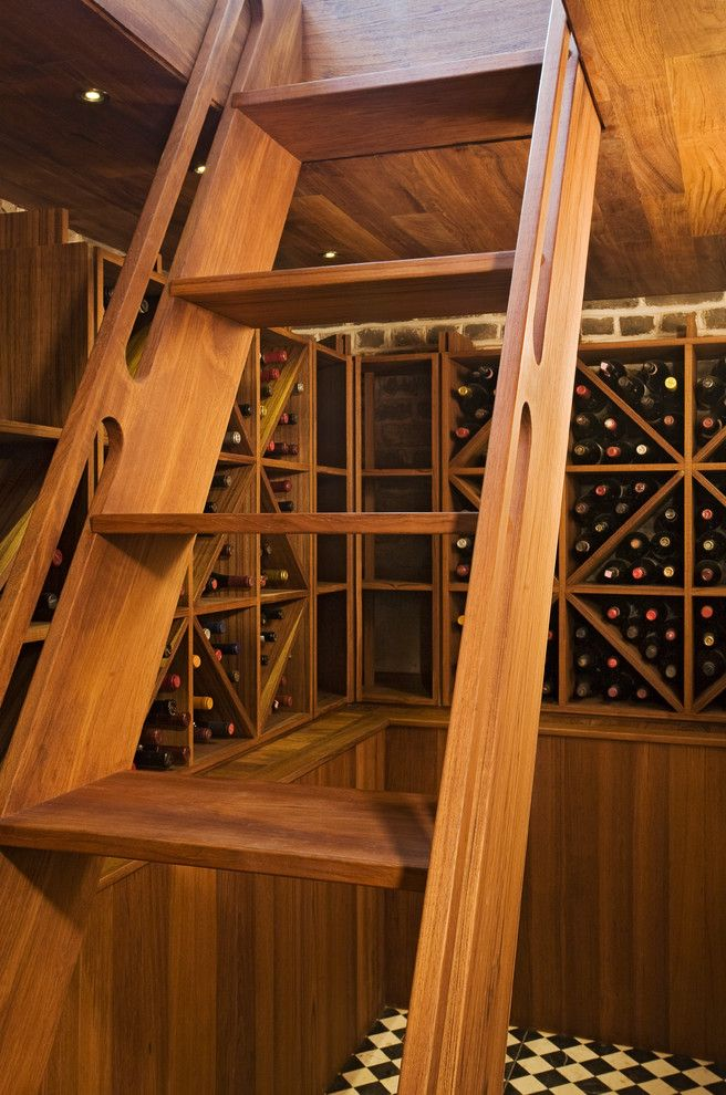 Wine and Design Richmond Va   Traditional Wine Cellar Also Architects Morris Construction Traditi Ladder Morris Architecture Natural Wood Tiled Floor Wine Cellar Wood