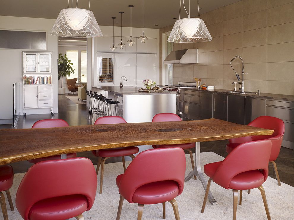 Wine and Design Richmond Va with Modern Kitchen  and Barstool Glass Ceiling Lamp Modern Faucet Modern Tap Red Chair Stainless Steel Kitchen Cabinets Stainless Steel Oven Hood Tiled Wall Tree Trunk Table Wine Fridge Wood Floor Wooden Table Zinc Cabinet