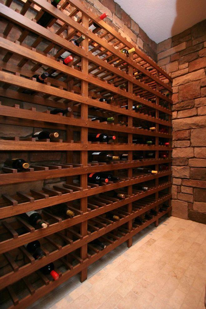 Wine Cellar Los Gatos   Mediterranean Wine Cellar Also Brick Wall Stained Wood Stone Wall Tile Floor Vinters Wine Bottles Wine Rack Wine Storage Wood Shelves Wood Wine Rack