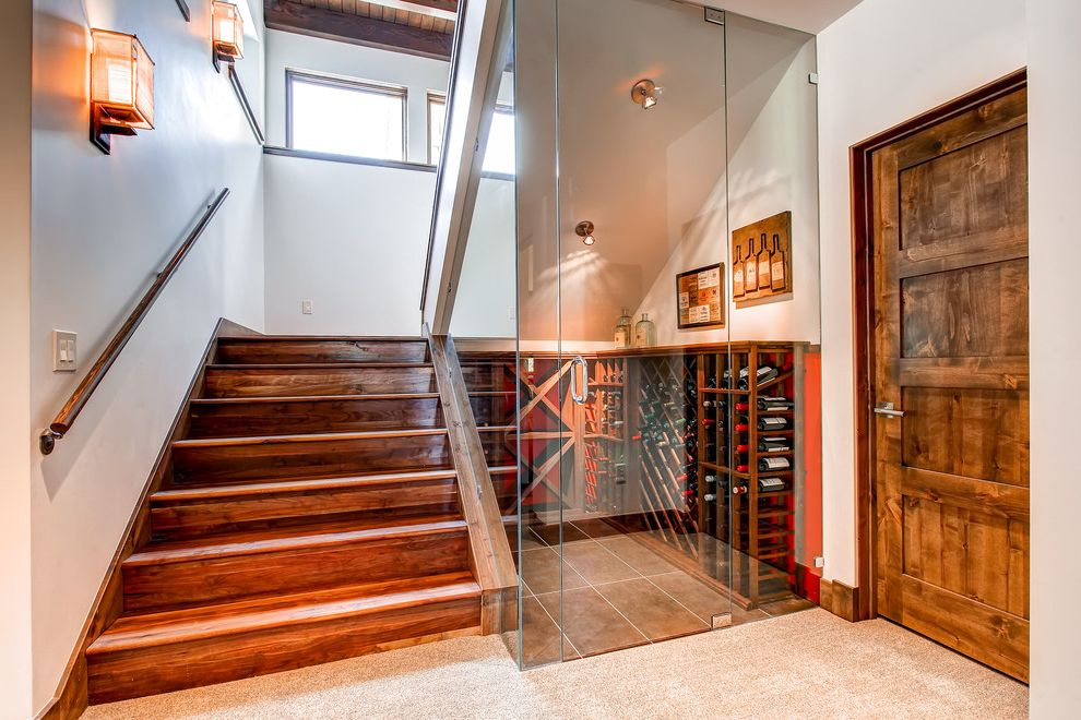 Wine Cellar Los Gatos with Contemporary Staircase  and Asian Sconce Japanese Sconce Large Wood Door Staircase Wine Cellar Wine Rack Wine Storage Wood Ceiling Wood Stairs
