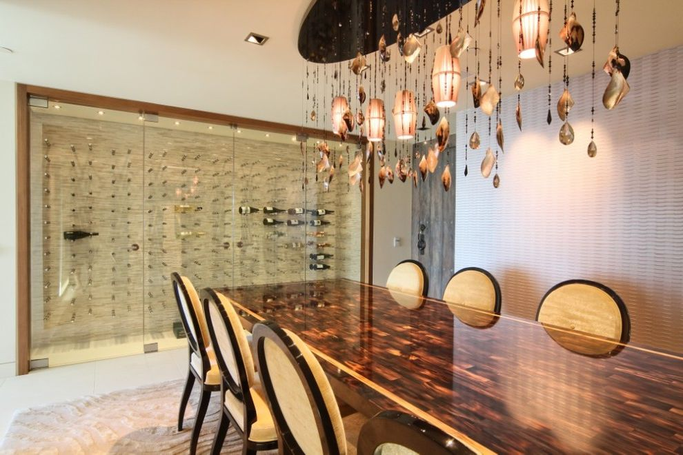 Wine Cellar Los Gatos with Modern Wine Cellar Also Beige Dining Chairs Glass Doors Glass Wine Cellar Large Chandelier Large Dining Table Pendant Lighting Textured Wall Two Toned Dining Table White Floor White Rug