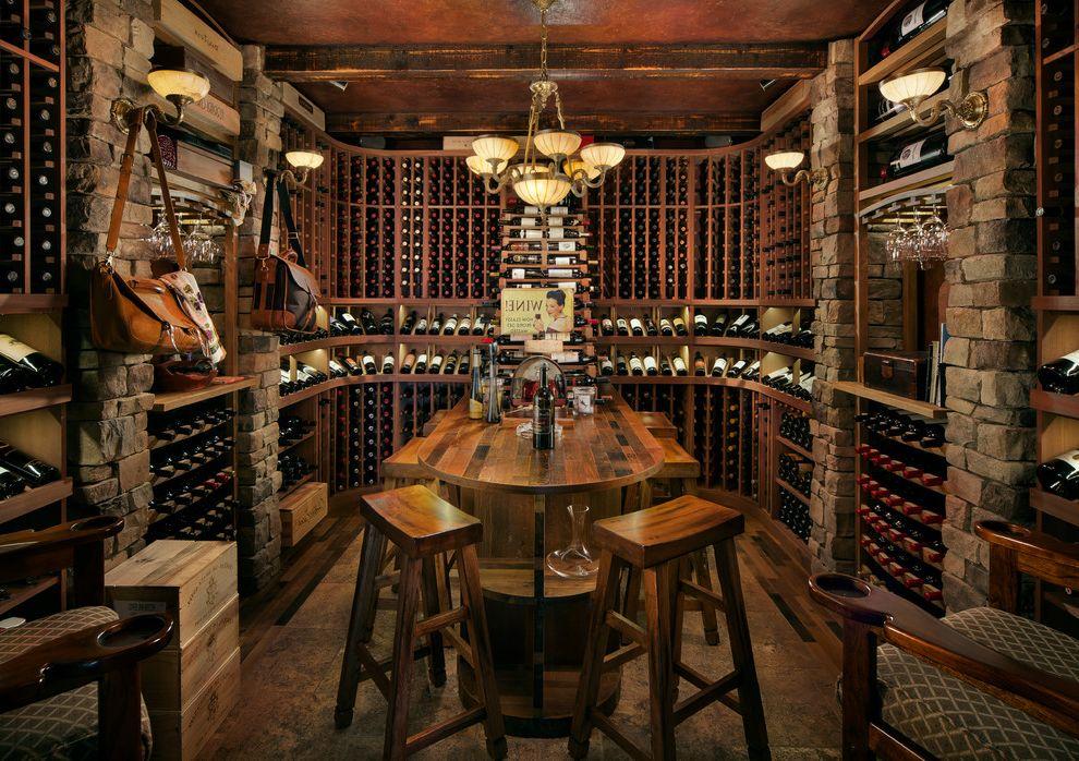 Wine Cellar Los Gatos with Rustic Wine Cellar Also Chandelier Exposed Wood Beams Mahogany Wine Racks Reclaimed Wine Barrel Wine Racking Wine Refrigeration Wood Wine Cellar Wood Wine Racks