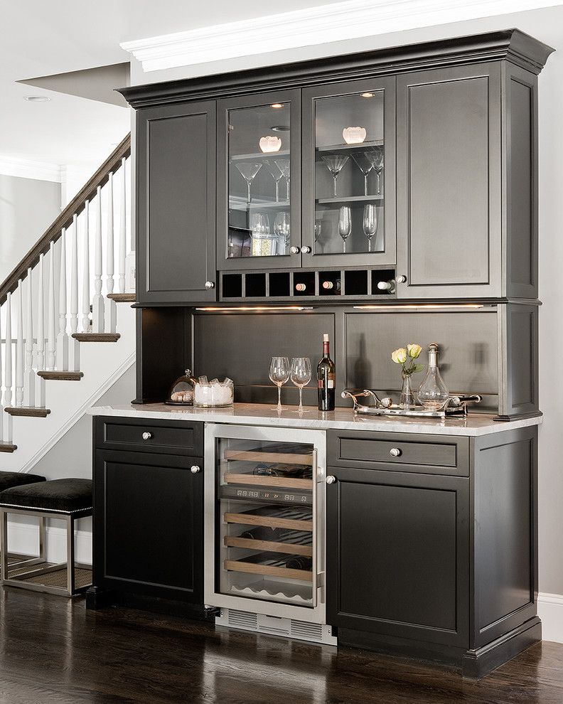 Wine Refrigerator Small   Traditional Home Bar Also Bar Bar Accessories Dark Floor Glass Front Cabinets Serving Tray Under Cabinet Lighting White Kitchen White Wood Wine Racks Wine Refrigerator Wine Storage Wood Flooring Wood Trim