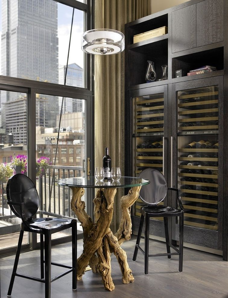 Wine Refrigerator Small with Industrial Wine Cellar Also Balcony Bar Table Dark Floor High Ceilings Modern Icons Neutral Colors View Wine Rack Wine Refrigerator Wine Storage Wood Base Table