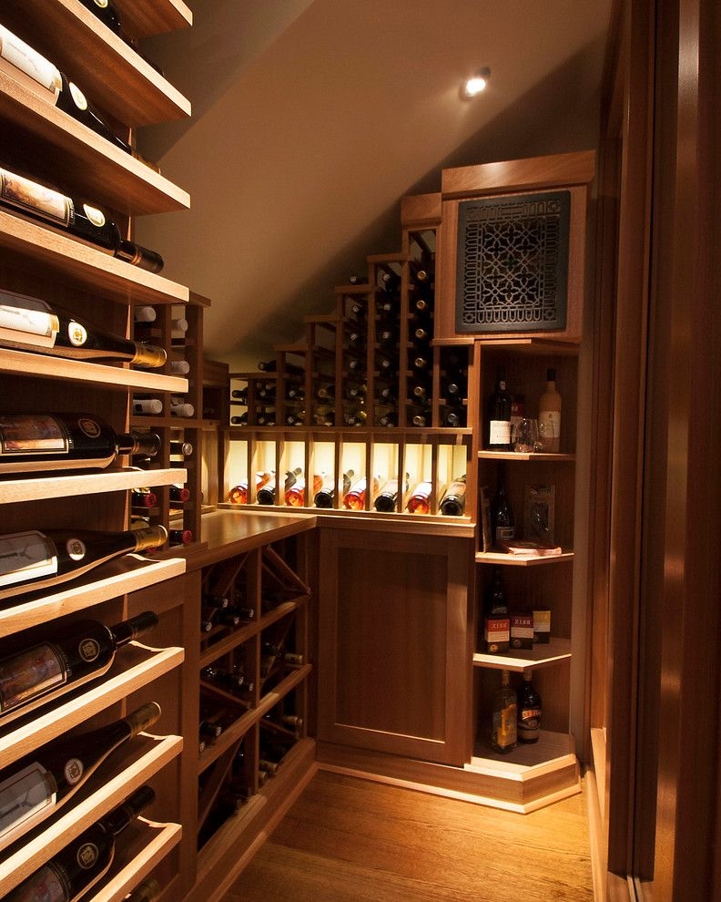Wine Refrigerator Small with Transitional Wine Cellar  and Bar Basement Climate Controlled Glass Mahogany Nook Tasting Room Under Stairs Wall Unit Wine Bar Wine Cabinet Wine Cellar Wine Holders Wine Rack Wine Racking Wine Room Wine Storage Wine Wall