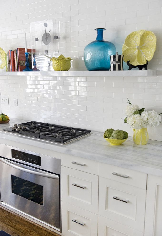 Wolf Gas Stove Top   Contemporary Kitchen Also Covelano Marble Floating Shelves Floral Arrangement Kitchen Hardware Kitchen Shelves Marble Countertops Pencil Round Edge Shaker Style Subway Tiles Tile Backsplash White Kitchen Wood Flooring