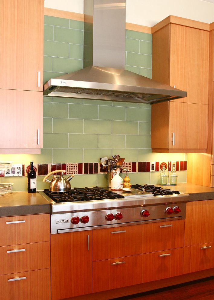 Wolf Gas Stove Top   Contemporary Kitchen Also Decorative Tile Flush Cabinets Glass Tile Hood Stainless Steel Tile Back Splash Wolf Range Wood Grain