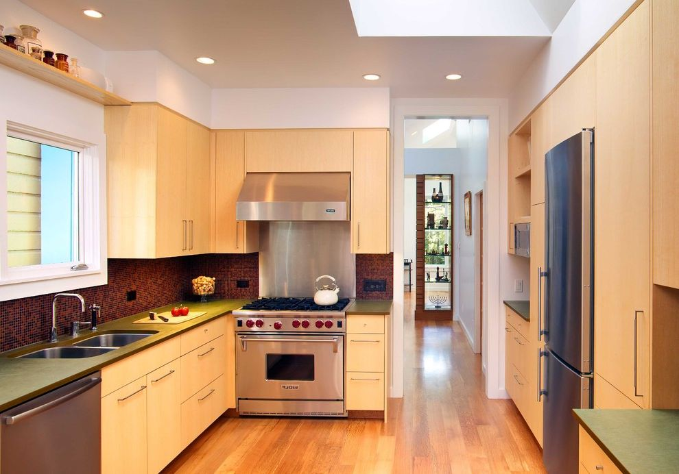 Wolf Gas Stove Top   Contemporary Kitchen Also Floating Shelf Hardwood Floors Recessed Lighting Skylight Stainless Steel Appliances Tile Backsplash Undermount Sink Wood Cabinets