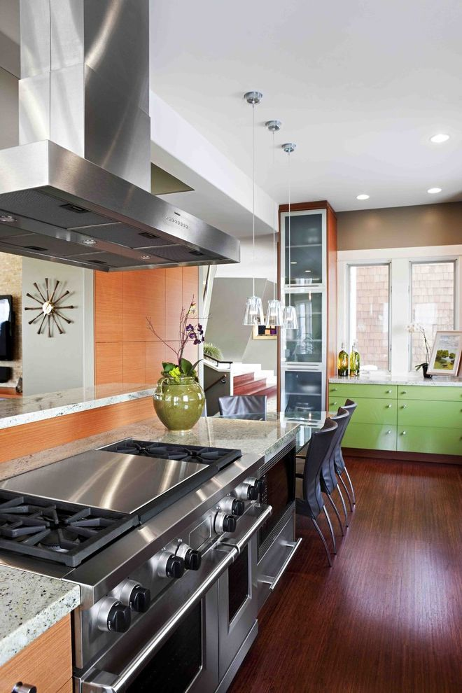 Wolf Gas Stove Top with Contemporary Kitchen Also Back Painted Glass Cherry Frosted Glass Glass Hood Lime Green Mohagany Pendants Stainless Wall Clock