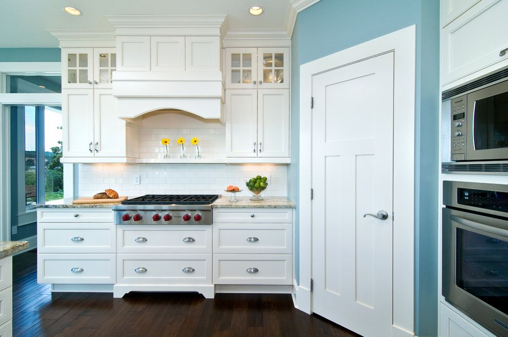 Wolf Stoves with Traditional Kitchen Also Bin Pulls Blue Walls Crown Molding Cup Pulls Custom Built Hood Fan White Trim
