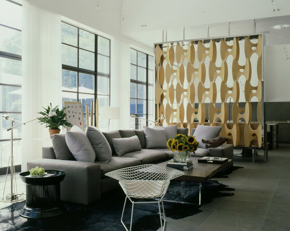 Wolfe and Associates with Contemporary Living Room  and Animal Skin Rug Black Window Casings Floor Tile Gray Couch Screen White Curtains White Walls
