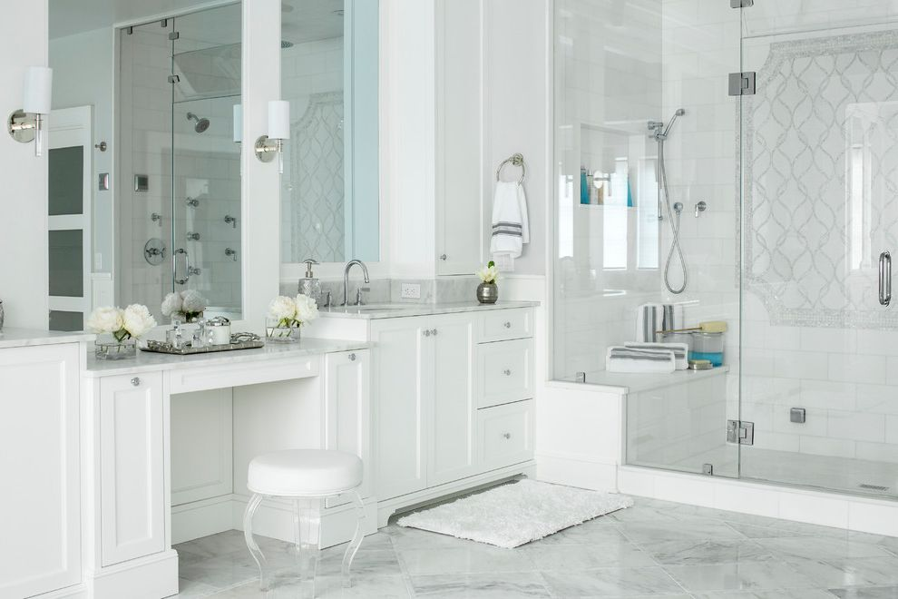 Wolfe and Associates with Traditional Bathroom  and All Marble Master Bath Artistic Tile Master Bath Hudson Valley Chandelier Jem Woodworking Penshell Tile Statuary Tile Floor Waterjet Tile White Thassos Tile