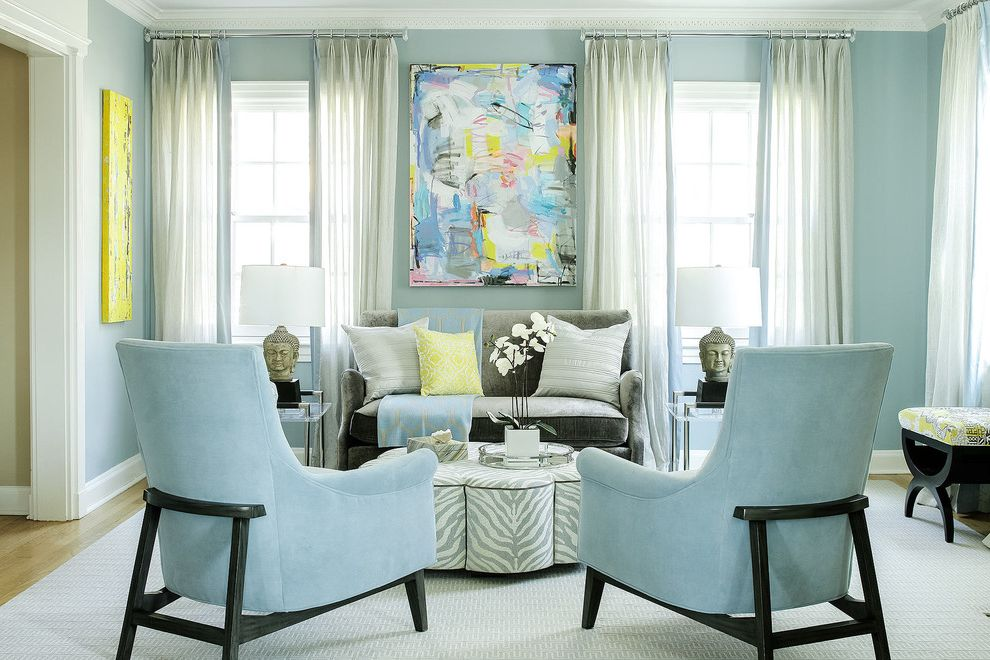 Wolfe and Associates with Transitional Living Room  and Asian Influence Baby Blue Living Room Blue and Gray Blue and Yellow Chinoiserie Chippendale Chairs Sheer Curtains Thibaut Fabric Upholstered Cocktail Table Upholstered Ottoman Zebra Ottoman