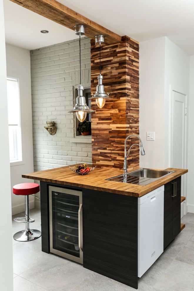 Wood Column Wraps   Contemporary Home Bar Also Bar Stool Corner Home Bar Nook Painted Brick Wall Pendant Lights Sink Small Space Tile Floor Wet Bar White Wall Window Wine Fridge Wood Counter