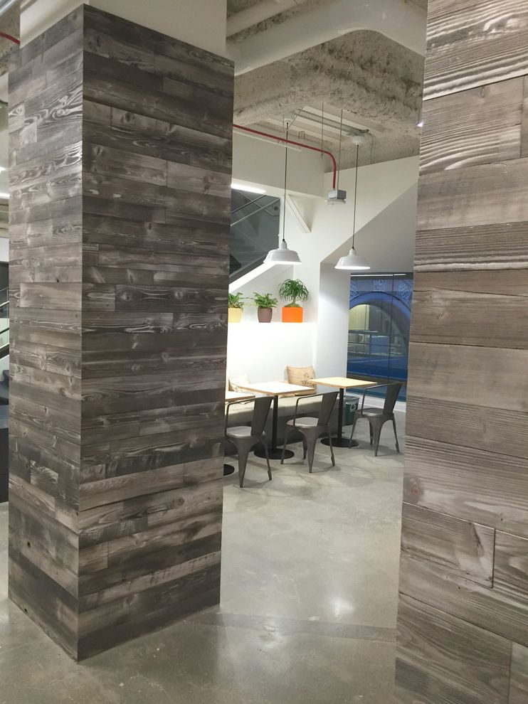 Wood Column Wraps   Industrial Spaces Also Barnwood Accent Wall Grey Rustic Wood Wall Reclaimed Wood Wall Rustic Wood Wall Wood Column Wood Column Wrap