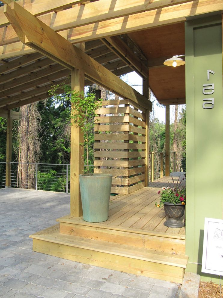 Wood Column Wraps   Modern Patio  and Green Pavers Planters Porch Siding Stone Trellis Wood Wood Deck