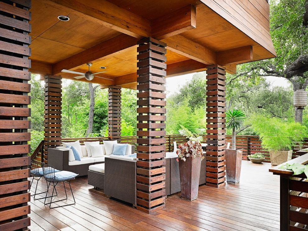 Wood Column Wraps with Asian Deck Also Ceiling Fan Ceiling Lighting Columns Container Plants Deck Handrail Horizontal Slat Fence Outdoor Cushions Patio Furniture Potted Plants Recessed Lighting Wood Flooring Wood Railing
