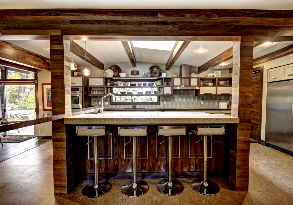 Wood Column Wraps with Midcentury Kitchen  and Breakfast Bar Concrete Counters Cork Floor Eat in Kitchen Kitchen Island Mid Century Modern Snack Bar Walnut Beams and Pillars