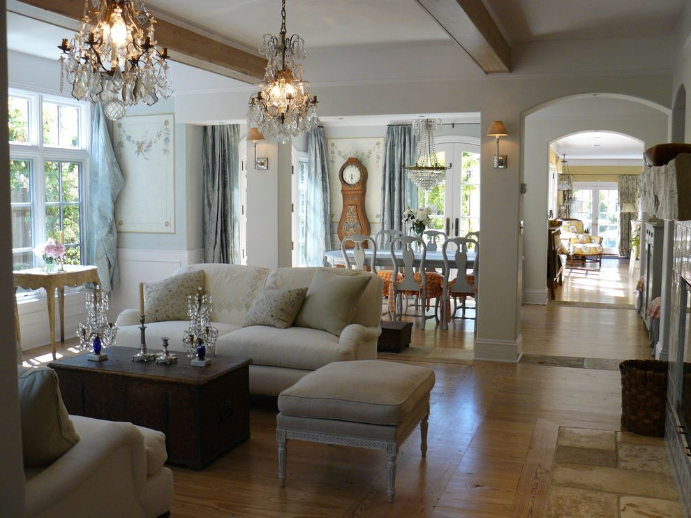Wood Columns for Sale with Shabby Chic Style Living Room  and Arched Walkway Blue Wood Chair Coffee Table Crystal Chandelier Dining Table Grandfather Clock Linen Sofa Mural Ottoman Rustic Wood Floor Side Table Sofa Wood Beams Wood Floor