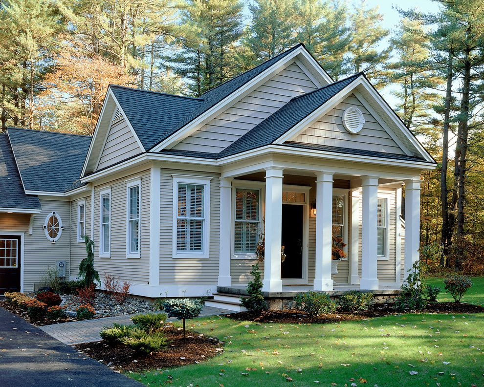 Wood Columns for Sale with Traditional Exterior Also Black Door Driveway Entrance Entry Front Door Grass Lawn Outdoor Lighting Path Planter Porch Turf Walkway Wall Lighting White Wood Window Shutters Wood Column Wood Post Wood Siding Wood Trim