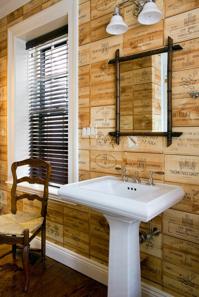 Wood Crates for Sale with Eclectic Bathroom  and Accent Wall Blinds Chair Dark Wood Floor Mirror Pedestal Sink Sink White Trim Wine Wine Box Wood Blinds Wood Chair Wood Floor Wood Wall