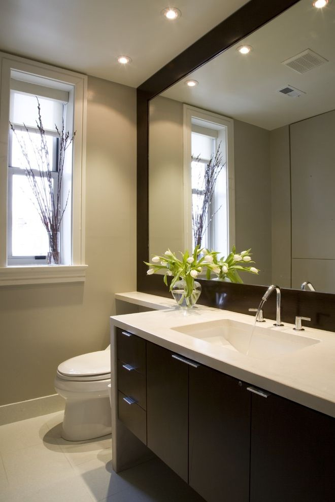 Wood Frame Full Length Mirror with Contemporary Bathroom  and Dark Stained Wood Floating Cabinet Gray Minimal Mirror Recessed Lights Roman Shade Tile Floor White Counter