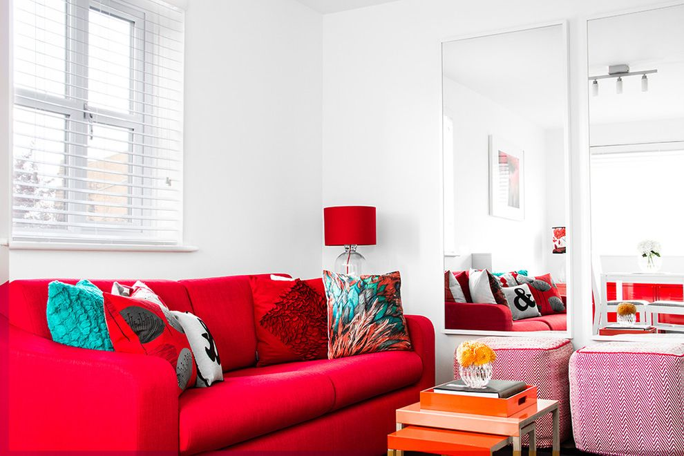Wood Frame Full Length Mirror with Contemporary Living Room Also Cushions Flowers Lamp Mirror Poufs Red Sofa Table