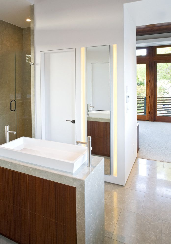 Wood Frame Full Length Mirror with Modern Bathroom Also Bathroom Mirror Dark Wood Cabinets Double Sinks Double Vanity Minimal Neutral Colors Tile Flooring Wall Lighting Waterfall Counters