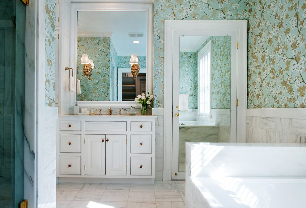 Wood Frame Full Length Mirror with Traditional Bathroom  and Cherry Blossom F Schumacher Framed Mirror Marble Tile Floor Marble Wainscoting Mirrored Door Raised Panel Woodwork Soaking Tub Wallpaper White Painted Cabinets