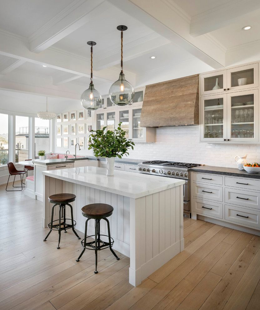Wood Range Hood Plans   Transitional Kitchen  and Backless Bar Stools Coffered Ceiling Glass Front Cabinets Glass Pendant Lights Gray Countertop Metal Bar Stools Recessed Lighting White Countertop