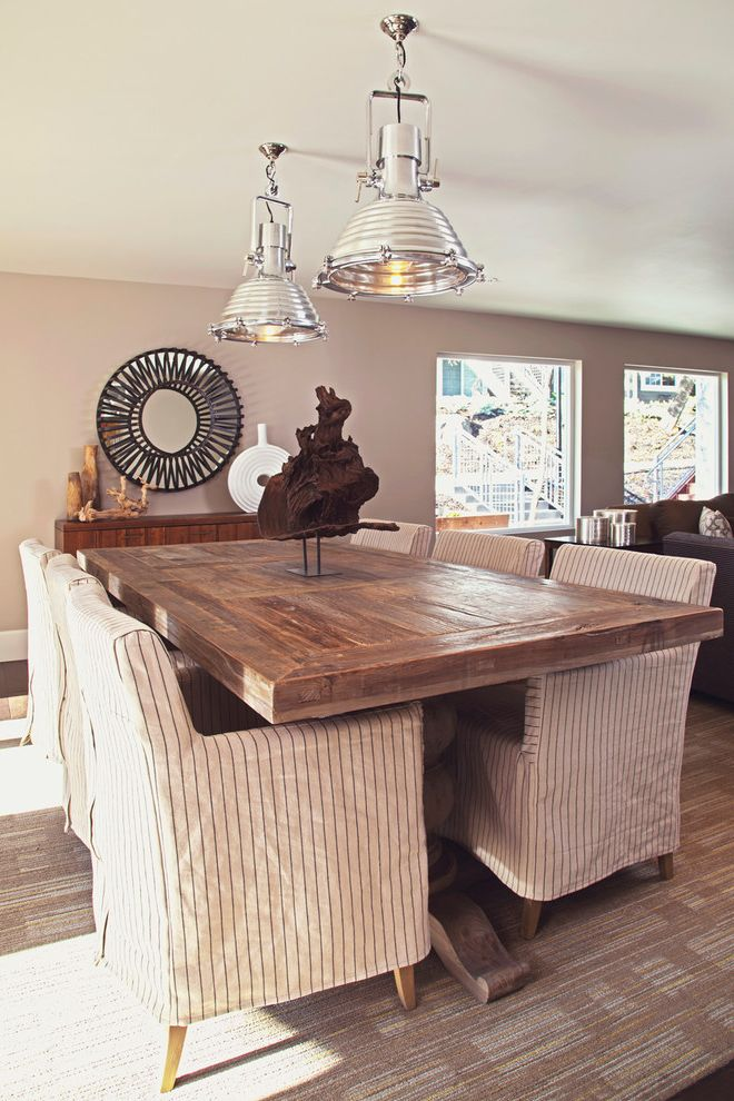Wood Table Tops for Sale   Eclectic Dining Room  and Artwork Beige Patterned Rug Beige Wall Industrial Pendant Light Oversized Window Picture Window Round Mirror Rustic Wood Dining Table Slipcovered Chair Wood Buffet Table Wood Sideboard