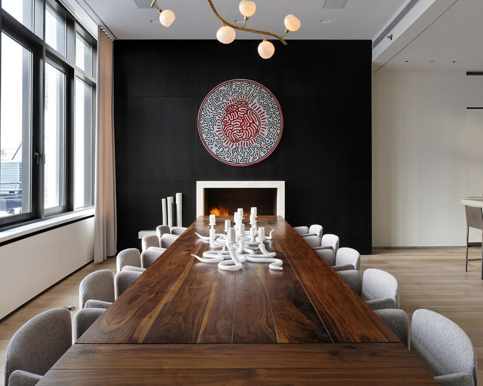 Wood Table Tops for Sale with Modern Dining Room  and Accent Wall Black Wall Dining Chair Dining Table Fireplace Keith Haring Long Ding Table Rustic Dining Table Wood Floor