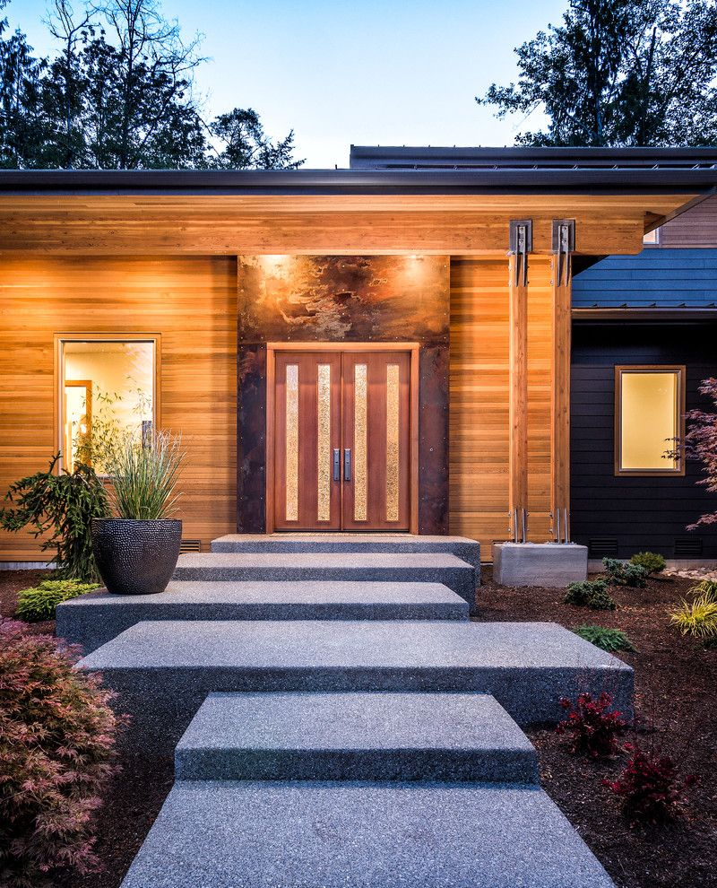 Woodinville Theater   Contemporary Entry Also Flat Roof Night Lighting Outdoor Lighting Wood Columns Wood Siding