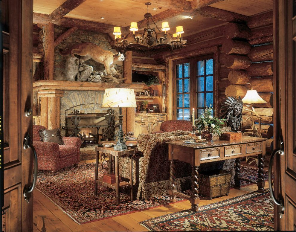 Woodland Park Lodges   Rustic Home Office Also Area Rug Cabin Chandelier Coffered Ceiling Console Table Divided Lights Faux Finish Fireplace Mantel Fireplace Screen Lodge Log Cabin Rustic Sofa Table Stone Fireplace Surround Table Lamp Wood Flooring