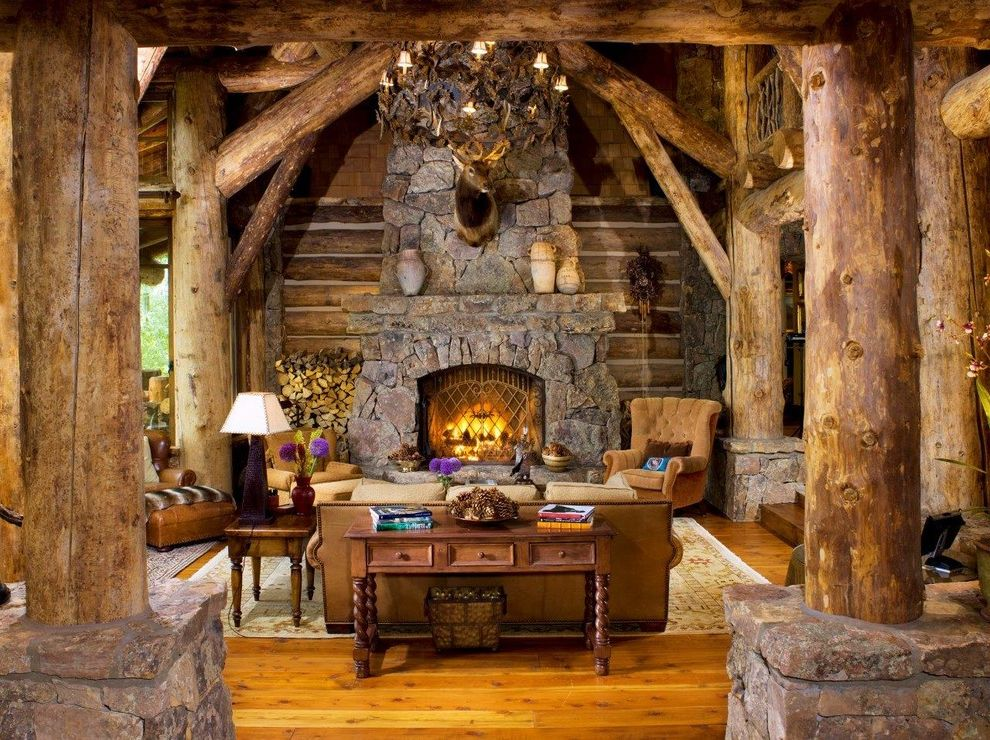 Woodland Park Lodges   Rustic Living Room  and Chinking Console Cozy Custom Log Mountain Home Rustic Sitting Area Ski Home Sofa Stone Fireplace Vail