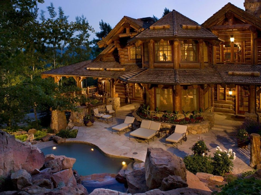 Woodland Park Lodges with Rustic Pool Also Boulders Custom High End Log Mountain Home Pool Rustic Shingle Roof Ski Home Spa Vail Waterfall