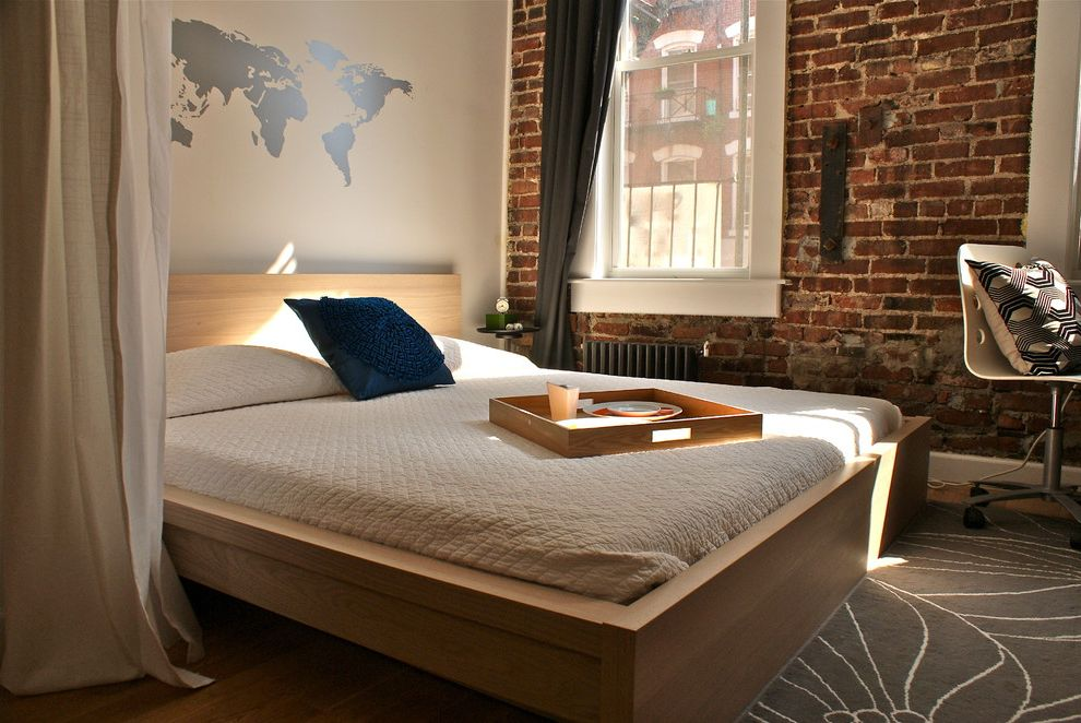 World Market Bedding   Modern Bedroom  and Brick Wall Curtains Drapes Loft Map Platform Bed Radiator Wall Decal White Bedding White Trim Window Casing