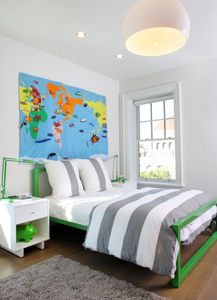 World Market Bedding with Contemporary Kids Also Gray and White Green Accents Green Metal Bed White Wall World Map