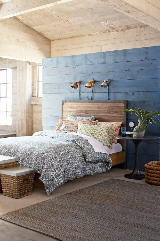 World Market Bedding with Farmhouse Bedroom Also Area Rug Bedroom Bedroom Furniture Blue Painted Wood Boho Eclectic Industrial Light Wood Lighting Pattern Duvet Cover Spot Lights Wicker Laundry Basket Wood Bedframe Wood Ceiling Wood Walls