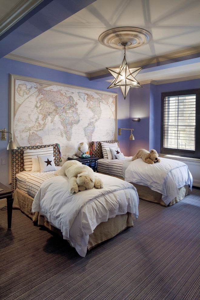 World Market Bedding with Traditional Kids Also Blue Wall Oversized Map Oversized World Map Padded Headboard Star Pendant Light Striped Bedding Striped Carpet Stuffed Animals Two Twin Beds Upholstered Headboard White Comforter World Map