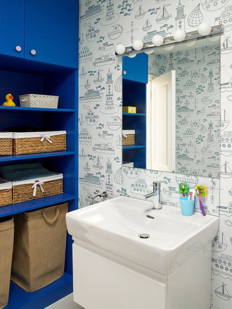 Wreath Storage Box   Contemporary Bathroom  and Bathroom Mirror Bathroom Storage Blue Bathroom Boats Bright Blue Fun Bathroom Fun Bathroom Ideas Kids Bathroom Laundry Baskets Lighthouse Nautical Bathroom Quirky Wallpaper Vanity Unit Wallpaper