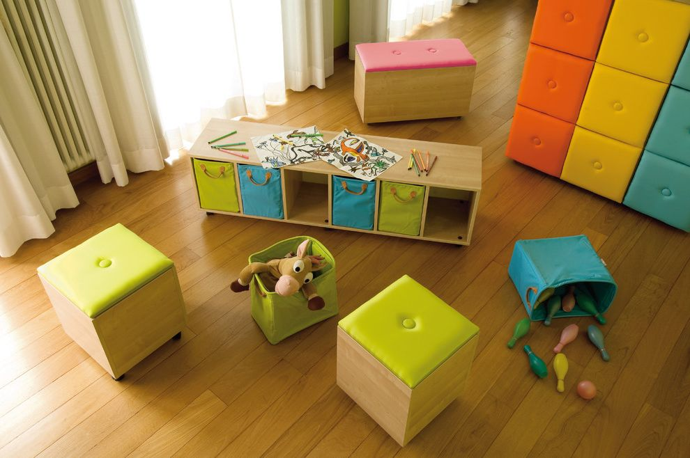 Wreath Storage Box with Contemporary Spaces  and Bold Colors Bright Colors Playroom Storage Bench Storage Cube Toy Storage Wood Flooring
