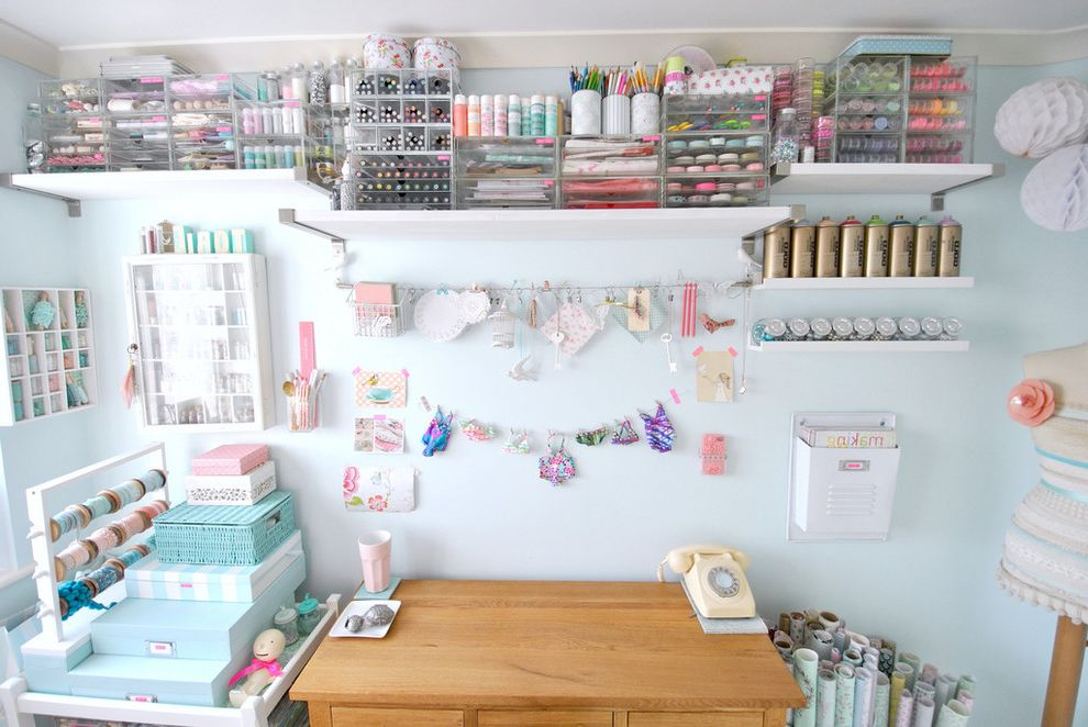 Wreath Storage Box with Shabby Chic Style Home Office  and Art Supplies Boxes Case Clips Craft Room Craft Supplies Crown Molding Dividers Open Shelving Organization Paint Pale Blue Walls Pencils Pretty Ribbon Steel Brackets Wire Wrapping Paper