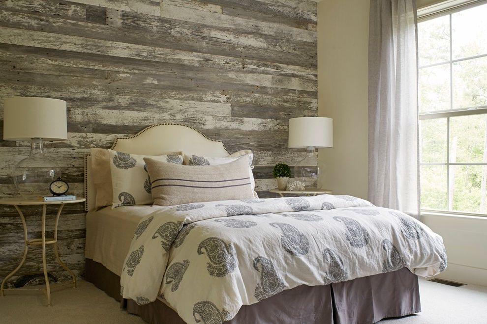 Wright Lumber   Traditional Bedroom  and Barn Boards Nailhead Detail Reclaimed Wood Repurposed Wood