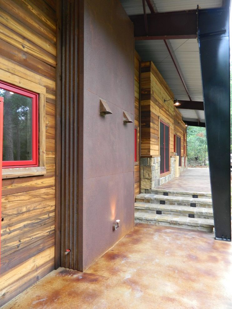 Wright Lumber with Rustic Exterior  and Corten Fireplace Stained Concrete Wabi Sabi