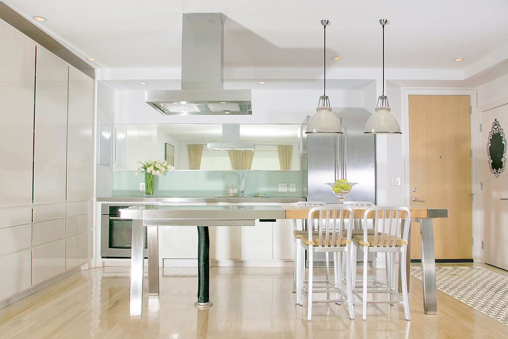 Wrightwood Furniture   Contemporary Kitchen Also Bar Stools Butcher Block Island Cooktop Island Mirrored Furniture Pendant Lighting Recessed Lighting Stainless Steel Island